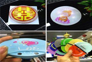 A1 méretű UV nyomtató 6090UV típusú műanyag minták nyomtatása